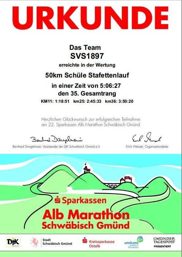 Urkunde Albmarathon